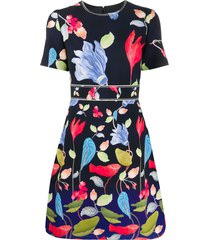 peter pilotto floral-print mini dress - black