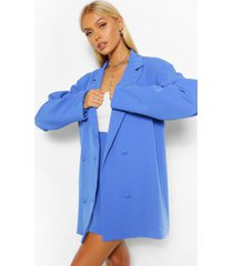 tailored long line oversized dad blazer, cobalt