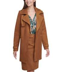 calvin klein faux-suede trench coat