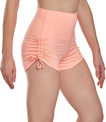 mika yoga wear women's lucia high waisted shorts - desert rose x-small/small polyester/lycra