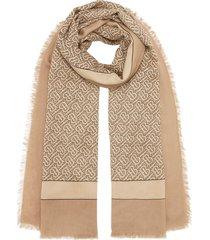 burberry monogram print lightweight cashmere scarf - neutrals