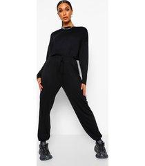 casual jumpsuit met lange mouwen en ceintuur, black