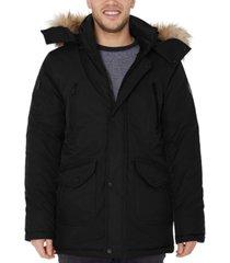 halifax men's big & tall hooded parka with faux fur trim