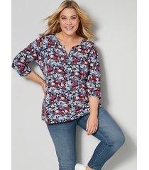 shirt janet & joyce jeansblauw::marine::rood