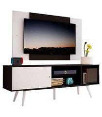 rack madesa cairo e painel para tv até 58 polegadas com pés de madeira preto/branco 77c7 mdes02001877c7