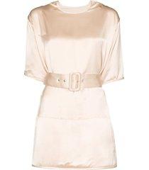 jil sander belted satin blouse - pink