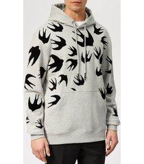 mcq alexander mcqueen men's swallow swarm pullover hoodie - mercury melange - xxl - grey