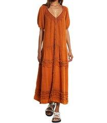 women's free people sunday stroll midi dress, size medium - orange