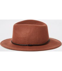 river island mens rust faux leather rope trim fedora hat
