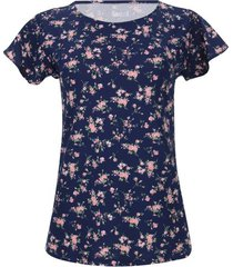 camiseta mujer flores rosas color azul, talla l