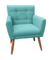 poltrona decorativa onix suede azul turquesa - ds móveis