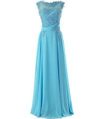 blevla elegant cap sleeves lace appliques evening party gown prom dresses blu...