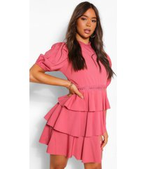 high neck puff sleeve tiered skater dress, rose