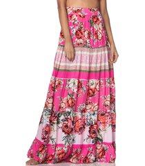 falda rosa-multicolor maaji free feeling freesia long skirt