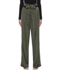 'arlet' charmeuse tie waist contrast seam wide leg pants