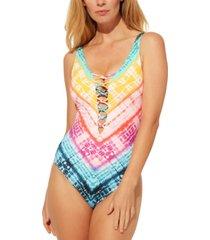 bleu by rod beattie good vibrations lattice-front one-piece swimsuit women's swimsuit