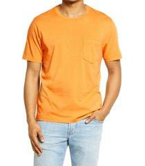men's billy reid washed pocket t-shirt, size small - orange
