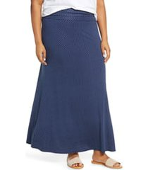 plus size women's loveappella roll top maxi skirt, size 1x - blue