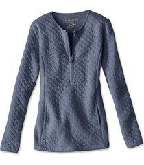 quilted henley half-zip sweatshirt