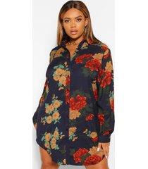 plus satijnen bloemenprint blouse jurk, navy