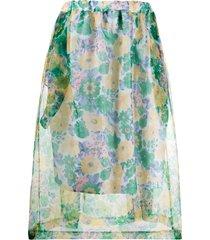 plan c sheer floral-print skirt - blue