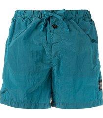stone island logo patch swim shorts - blue