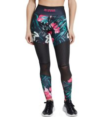 guess logo tropical mesh leggings