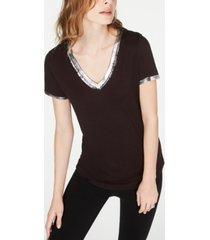 inc metallic-trim t-shirt, created for macy's