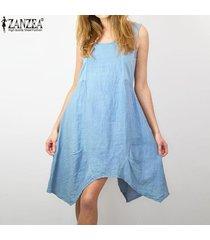 zanzea vestido corto de playa de fiesta de verano con escote en v de algodón corto para mujer -azul claro