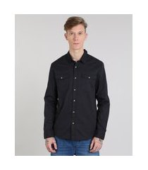 camisa de sarja masculina com bolsos manga longa preta
