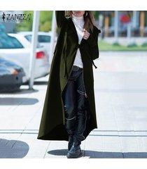 zanzea mujeres otoño invierno cremallera con capucha larga floja de la rebeca outwear coat -ejercito verde