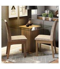 conjunto sala de jantar madesa lili mesa tampo de vidro com 2 cadeiras marrom