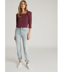 reiss isabelle - ruched sleeve straight neck top in berry, womens, size 14