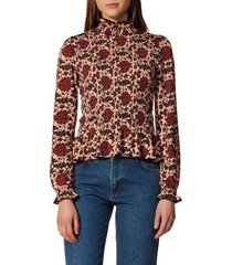 women's sandro floral print smocked top, size 3 - pink