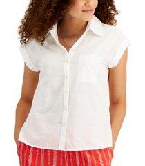 style & co cotton-linen slub camp shirt, created for macy's