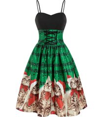 christmas cat musical note lace up cami dress