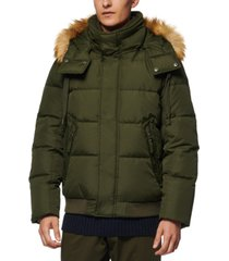 marc new york men's clemont down jacket with removable hood