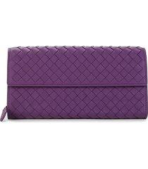 bottega veneta women's intrecciato leather continental wallet - purple