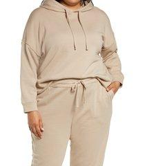 plus size women's eileen fisher crop hoodie, size 1x - beige