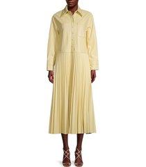 jonathan simkhai women's makayla vegan leather pleated shirtdress - pale yellow - size xs