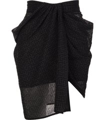 balmain black mini skirt with monogram and draping