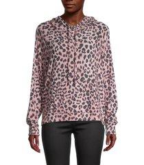 michael stars women's stevie leopard-print hoodie - rosebud multi - size xs