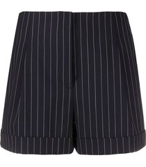 rag & bone pinstriped high-rise shorts - blue