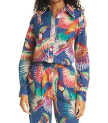 women's farm rio mix toucans pajama shirt, size x-small - blue