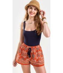 women's rosalyn scarf print shorts in rust by francesca's - size: m