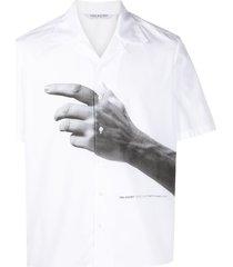 neil barrett hand-print short-sleeve shirt - white