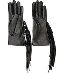 manokhi fringed fitted gloves - black