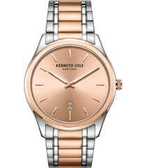 kenneth cole new york men's 2 hands date two-tone stainless steel watch on two-tone stainless steel bracelet, 41mm