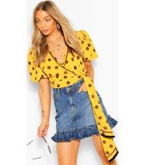 polka dot puff sleeve wrap top, mustard