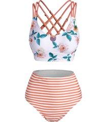 striped flower keyhole criss cross tankini swimwear